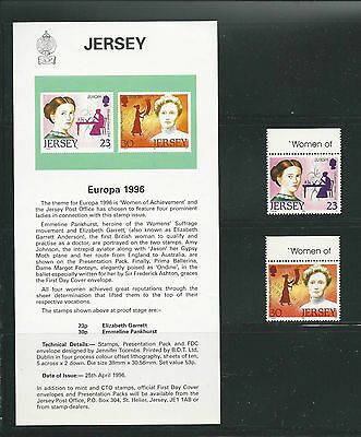 Jersey ( Europa ) 1996 set of 2 Mint Never Hinged