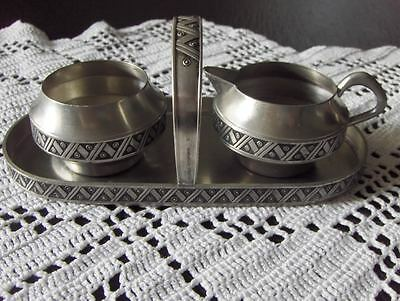 Norway vintage Pewter Norwegian Hagness tinn sugar and creamer on a tray set