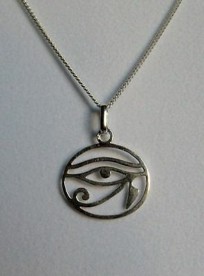 Small 925 Silver Egyptian Eye of Horus Dainty Pendant SP Chain~Protection~Reiki