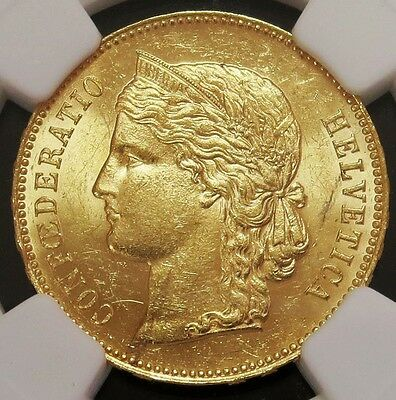 1893 B Gold Switzerland 20 Francs Helvetica Coin Ngc Mint State 63