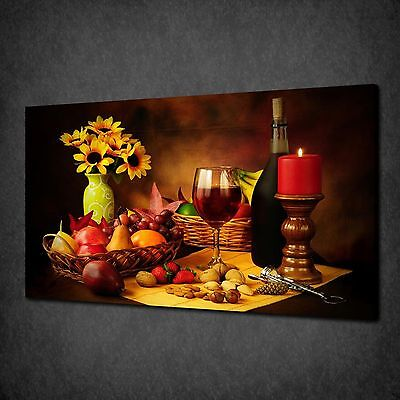 Wine Fruits Nuts Kitchen Canvas Wall Art Print Picture Poster Ready To Hang