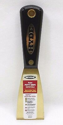 Hyde Tools 02320 2-Inch Brass Stiff Putty Knife, Black and Silver