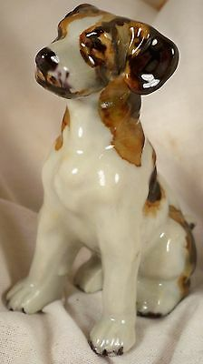 Dog Figurine WIRE FOX TERRIER Sitting Porcelain Porcelain England 1970's GREAT