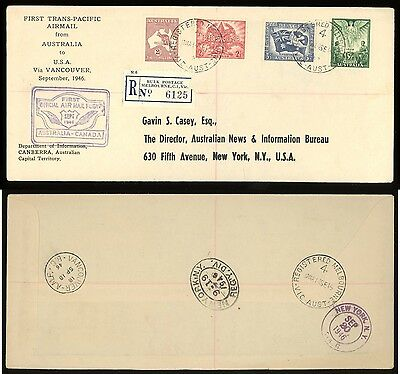1946 Australia to Canada FFC First Flight Cover Registered