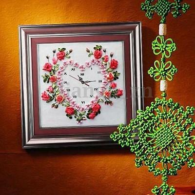 Ribbon Embroidery Kit Flower Hear Clock with Clock Movement Home Decor DIY Craft