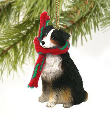AUSTRALIAN SHEPHERD DOG CHRISTMAS ORNAMENT HOLIDAY Figurine Scarf Tri-color