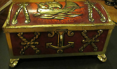 Vintage Footed Western Germany Metal Tin Pirates Chest Anchors Ship Fricke Nacke