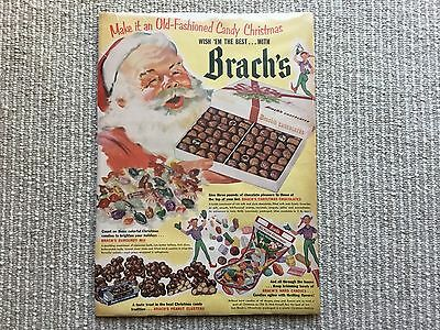 Large Vtg Brach's Candy Advertisement - Santa Claus w/ Box of Chocolate - 1952