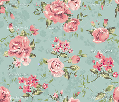 """Dollhouse Miniature Green Floral Computer Printed Fabric 1:12 Cotton 8x10.5""""  #3"""