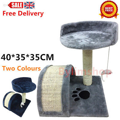 Cat Tree Scratcher Kitten Post Toy Scratching Activity Centre Sisal Grey Bed