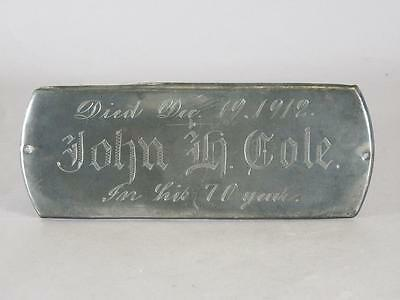 ANTIQUE SILVER PLATED COFFIN PLATE c.1912 ~ 70 YEAR OLD MAN ~ CASKET PLAQUE
