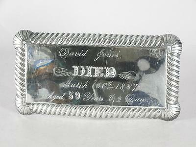 ANTIQUE SILVER PLATED COFFIN PLATE c.1887 ~ 59 YEAR OLD MAN~ CASKET PLAQUE