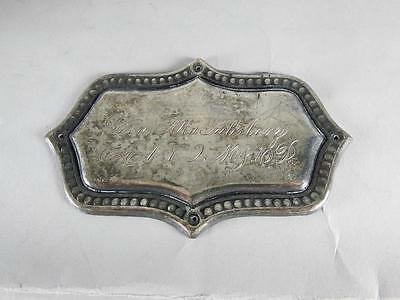 ANTIQUE SILVERPLATED COFFIN PLATE 19th C. ~ 1 YEAR OLD CHILD ~ CASKET PLAQUE
