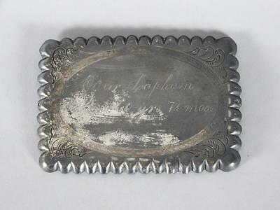 ANTIQUE SILVERPLATED 19th C. COFFIN PLATE  60 YEAR OLD MAN~ CASKET PLAQUE