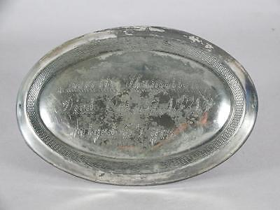 ANTIQUE SILVER PLATED COFFIN PLATE c.1871 ~ 54 YEAR OLD WOMAN~ CASKET PLAQUE