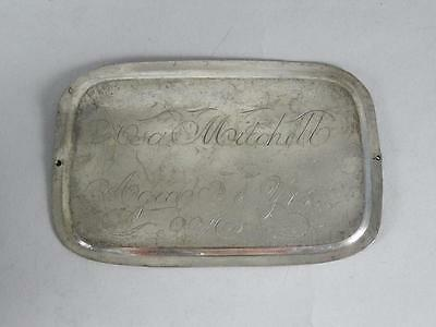 ANTIQUE SILVERPLATED COFFIN PLATE 19th CENTURY~ 57 YEAR OLD MAN~ CASKET PLAQUE