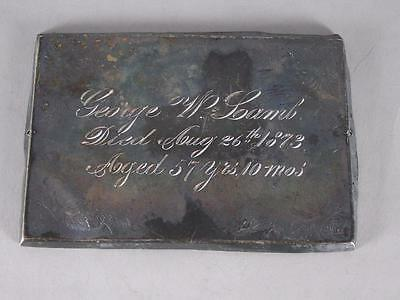 ANTIQUE SILVERPLATED COFFIN PLATE c.1873 ~ 57 YEAR OLD MAN~ CASKET PLAQUE