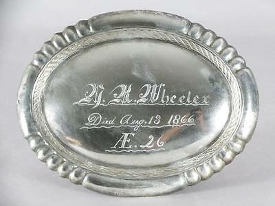 ANTIQUE SILVERPLATED COFFIN PLATE c.1866 ~ 26 YEAR OLD ~ CASKET PLAQUE
