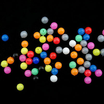 100Pcs Fishing Lure Round Plastic Mixed Plastic Beads Tool Soft Glow Tackle 6mm