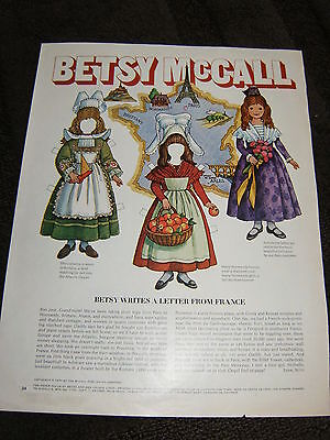 Vintage Betsy McCall Mag. Paper Doll, Betsy Writes from France, July 1970
