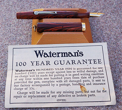 Vintage WATERMAN'S IDEAL Canada, NO. 521/2v  ORANGE / RED COLORED WOOD GRAIN FOU