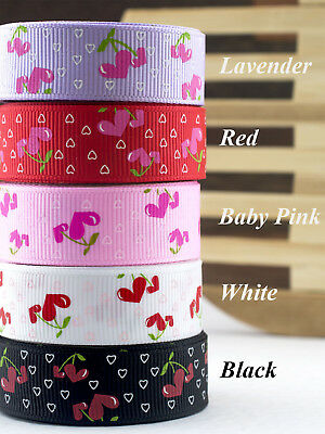 "Grosgrain Ribbon Blooming Cherry Heart 10mm/16mm/25mm/38mm 3/8"" 5/8"" 1"" 1-1/2"""