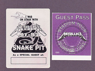 Metallica 1991 92 Snake Pit Concert Tour Unused Backstage Pass Lot Of 2 Fasson