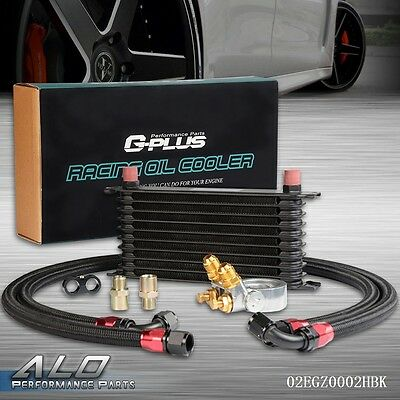 UK Gplus 10 ROW Thermostat Adaptor Engine Racing Oil Cooler Kit For Car/Truck
