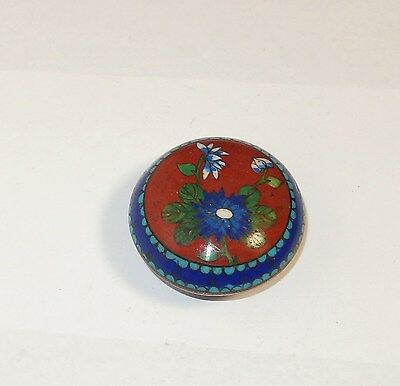 Small Chinese Cloisonne Red Enamel Floral Designed Bowl Jar Box