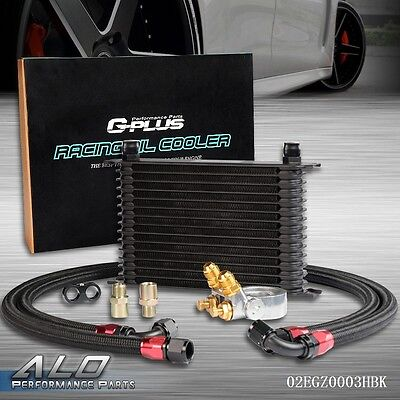 UK GPLUS 15 Row Thermostat Adaptor Engine Racing Oil Cooler Kit For Car/Truck