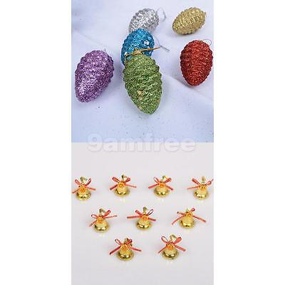15pcs/Pack Assorted color Christmas Pine Cones Pendant Hanging Ornaments