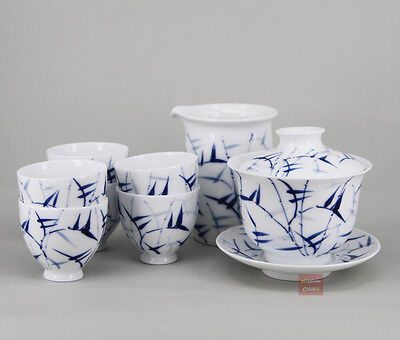 """Bamboo"" Chinese Jingdezhen Blue and White Porcelain Tea Set of 8 Handpainted"