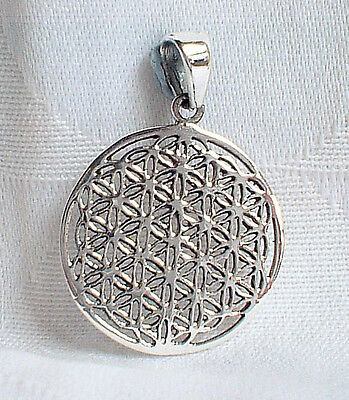 Small Polished 925 Sterling Silver Flower of Life Pendant~Reiki~Sacred Geometry