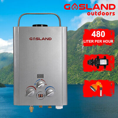 GASLAND Lux Camping Gas Hot Water Heater Outdoor Shower 12V Pump Shower Stand