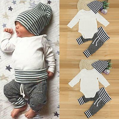 3pcs Newborn Baby Boys Girls Romper+Long Pants+Striped Hat Clothes Outfits Set