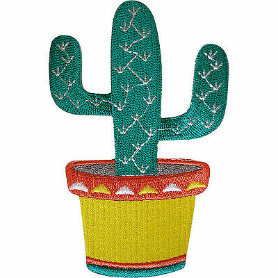 Embroidered Iron On Cactus Plant Patch Sew On Badge Embroidery Applique Motif