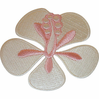 Embroidered Iron On Cream Pink Flower Patch Sew On Badge Cloth Crafts Embroidery