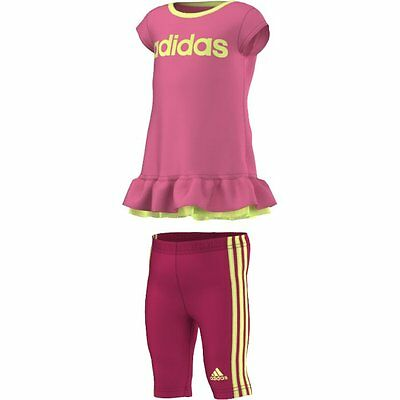 Size 9-12 Months - Adidas 3 Stripes Dress With Pant Set - Pink