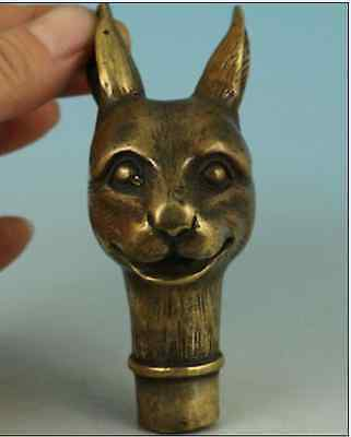 Lovely Chinese Old Bronze Hand Carved Rabbit Statue Cane Walking Stick Collect