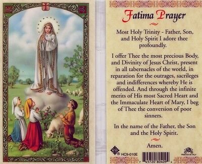 Fatima Prayer Card Catholic Father Son & Holy Spirit Laminated Cards HC9-010E