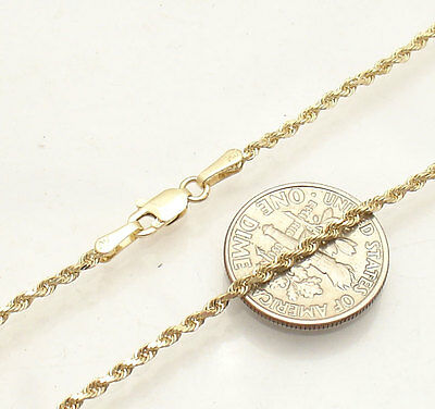 """9"""" 2mm Diamond Cut Rope Ankle Bracelet Anklet Real Solid 14K Yellow Gold 2.5gr"""