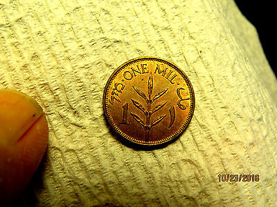 Beautiful Brilliant Uncirculated Red Brown 1944 One Mil Palestine Copper Coin
