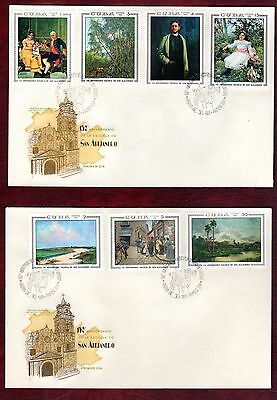 CARIBBEAN STAMPS- San Alejandro painting school, set on 2 FDC, 1968
