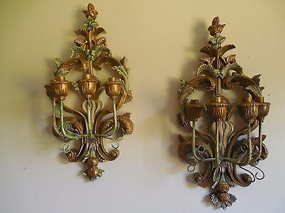 Pr Exquisite Antique Carved Wood Polychrome 4 Lights Architectural Wall Sconces
