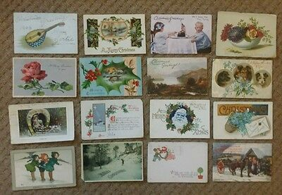 Small Collection of 16 Vintage Xmas Postcards, early 1900's