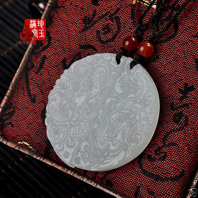 Natural Hand-carved Chinese Hetian Jade Pendant - Dragon Phoenix Pendants
