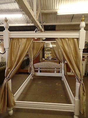 1900's 4 Poster Bed painted Shabby Chic Style