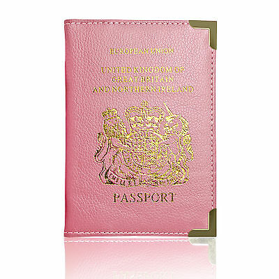 European and UK Passport Holder Protector Stylish Cover Wallet PU Leather - Pink