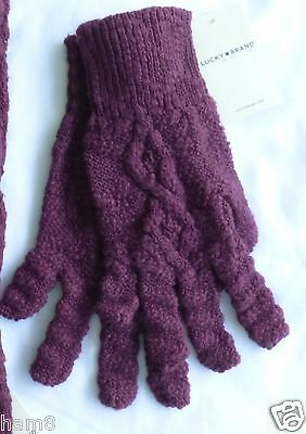 Lucky Brand Womens Gloves One Size Maroon New with Tags Cable Knit Lucky Quality