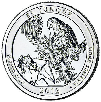 2012 D El Yunque Puerto Rico America the Beautiful BU Quarter from US Mint Roll
